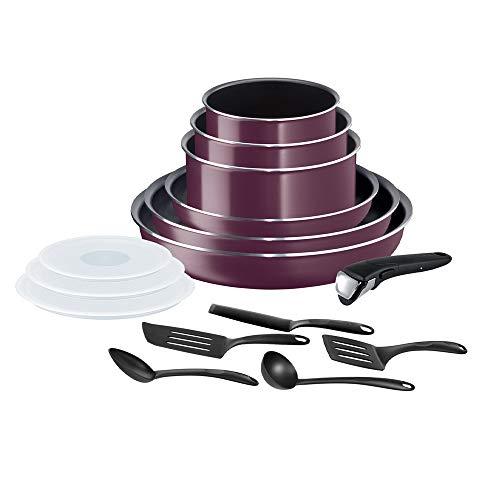Tefal Ingenio Essential - Batería de cocina de 15 piezas, sartenes, cacerolas, tapas herméticas, 1 asa, espátulas, cuchara, todo tipo de fuegos excepto inducción + horno, fabricado en Francia L2019502