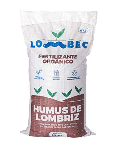 LOMBEC Humus de Lombriz, Saco 25Kg (42L). Fertilizante orgánico, vermicompost 100% Natural....