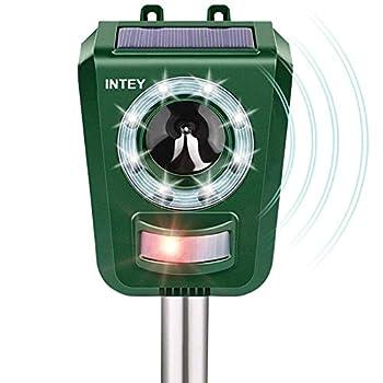 INTEY Répulsif Animaux, Chat Ultrason pour Répulser Chats, Chiens, Oiseaux, etc, Chargement d'énergie Solaire et du Câble USB pour Jardins et Champs - Ultrasons et LED