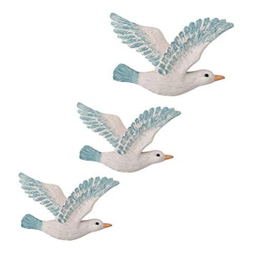 BANNAB 3 Piezas de cerámica pájaros Arte de la Pared 3D Gaviota Arte de la Pared Decoraciones pájaro WAL Escultura náutica Playa Animal Estatua estatuilla Figura 23x11x3cm
