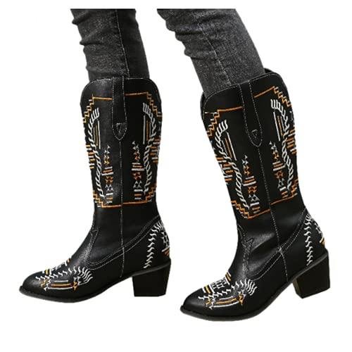 Bcshiye Stivali da cowboy occidentali larghi polpaccio punta rotonda tacco basso spesso ricamato metà polpaccio stivali per feste di nozze