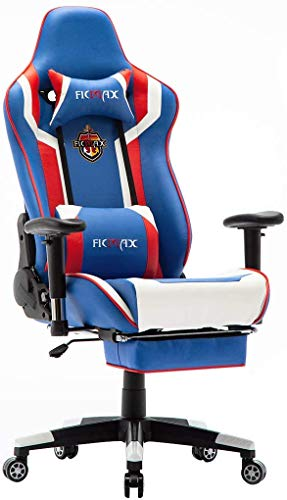 Ficmax Massage Gaming Chair Ergonomic Gamer Chair with Footrest Reclining Computer Gaming Chair High Back Home Office Chair Height Adjustable Gaming Chair with Headrest and Lumbar Support