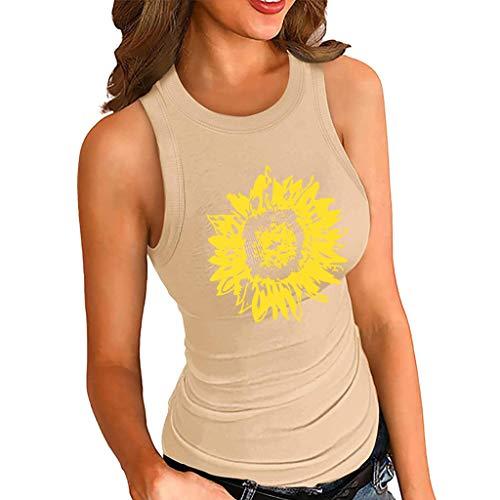 Inawayls Gerippte Tanktops für Damen Sommer Einfarbiges, mit Sonnenblumen bedrucktes Hemd mit rundem Hals ärmellose Tank-Basic-Westentops