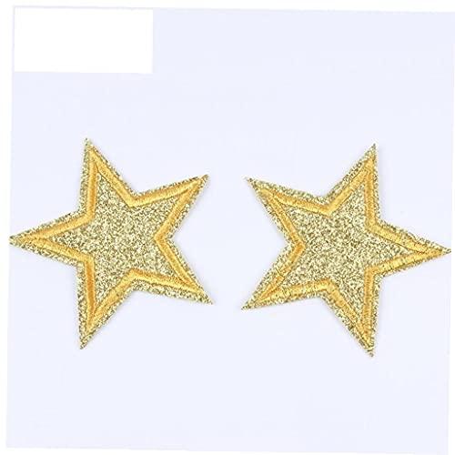 Onsinic 10pcs 65 Millimetri Glitter Stars Ferro Ricamato sul Cappotto Jeans Scarpe Appliques Cucire Indumenti Bagde Decorazioni a Stella Adesivi di Colore Casuale