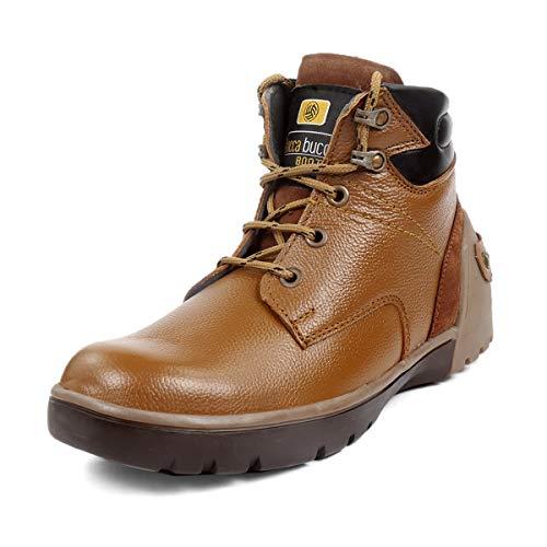 "Bacca Bucci® Men's PRO American Heritage 6"" Steel Toe Genuine Leather Work Boot for Men-Tan"