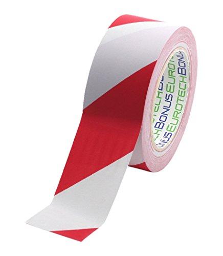 BONUS Eurotech 1BL23.49.0050/033A# PVC Bodenmarkierungsband, Klebstoff auf Kautschuk Basis, weich, Länge 33 m x Breite 50 mm x Dicke 0,17 mm, Weiß/Rot