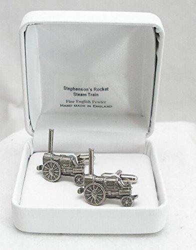 English Pewter Cufflinks Boutons de Manchette Train à Vapeur Stevenson's Rocket avec Boîte à Cadeau