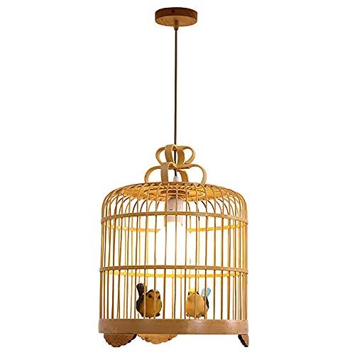 SHUANF Lámpara Colgante de Linterna de Estilo Retro, Bird Cage Creativity Pantalla de ratán de Mimbre, Lámpara de Techo de Arte de bambú Chino Lámpara Colgante de bambú Teahouse Bar Cafe Club