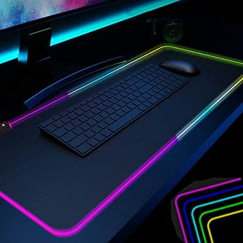 Gaming Mouse Pad Black PC RGB Mouse Pad  Desk Pad for Large LED Soft Light Up Extra Extended keyboard and Mouse Pad ,Anti-Slip Rubber Base Cool Big XXL Gaming Mousepad Mat Optimized for Gamer 31.5X12