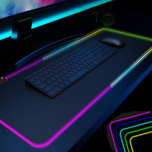 Gaming Mouse Pad Black PC RGB Mouse Pad , Desk Pad for Large LED Soft Light Up Extra Extended keyboard and Mouse Pad ,Anti-Slip Rubber Base Cool Big XXL Gaming Mousepad Mat Optimized for Gamer 31.5X12