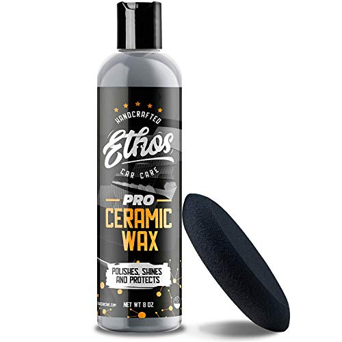 Ethos Ceramic Wax PRO - Aerospace Coating Protection | Ceramic Polish and Top Coat | Deep Mirror Shine | Slick, Hydrophobic Finish - Foam Applicator Included
