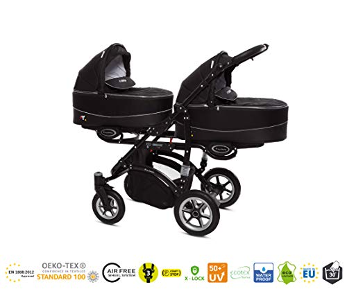 BABYACTIVE Duo Kinderwagen Twinny TW07 Black 2in1 Schwarz