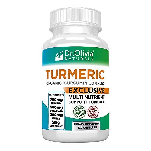 Dr. Olivia's Organic Turmeric Complex with Curcumin Boswellia Ginger & BioPerine - 120 Capsules