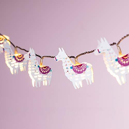 Lights4fun 10er LED Lama Lichterkette warmweiß Kinderzimmer Batteriebetrieb Timer
