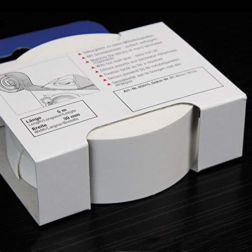 Melaminkantenumleimer 10 m x 30 mm in Weiß 2 x 5 m Rollen Umleimer mit SK glatt und strukturlos, Kantenumleimer inkl. Schmelzkleber für Regalböden und Möbelbauplatten