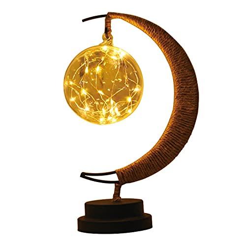 LUDAXUE La lampada lunare incantata, la lampada lunare appesa la luce notturna della luna della luna, appeso lampada della lampada della luna del LED con supporto, lampada lunare della lampada a ballo
