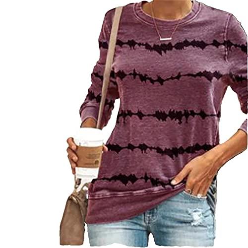 Mayntop Womens Tops Shirt Plus Size Stripes Tie-Dye Long Sleeve Crew-Neck Long Sleeve Casual Loose Blouse(A Pink Purple,L)