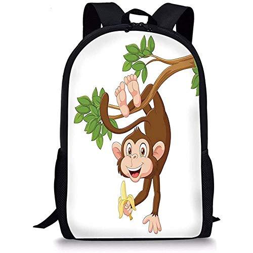 Hui-Shop Mochilas Escolares Dibujos Animados, Mono Gracioso Colgando del árbol con plátano...