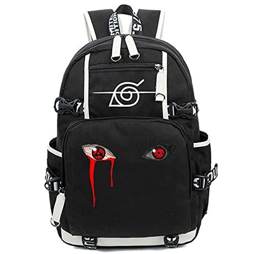 PLMNXHH Mochila de Anime Naruto, mochila escolar, mochila para adolescentes, Akatsuki Itachi, Cosplay, niños, niñas, bolsas para ordenador portátil, mochila de viaje
