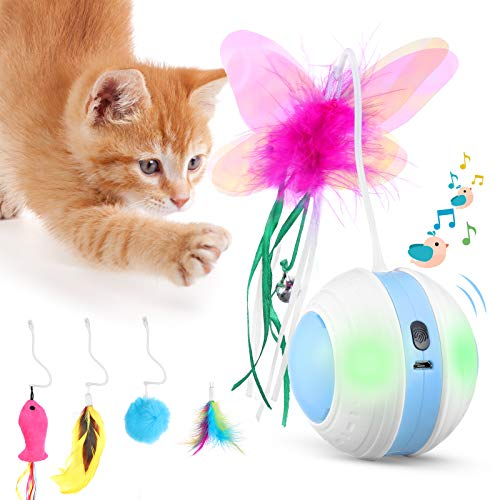 Interactive Cat Toys Ball with Colorful Light amp Bird Sound  USB Charging Automatic Irregular 360 Degree Self Rotating Ball  5 Replacement Feathers Robotic Cat Toy for Indoor Cats Kitten Blue