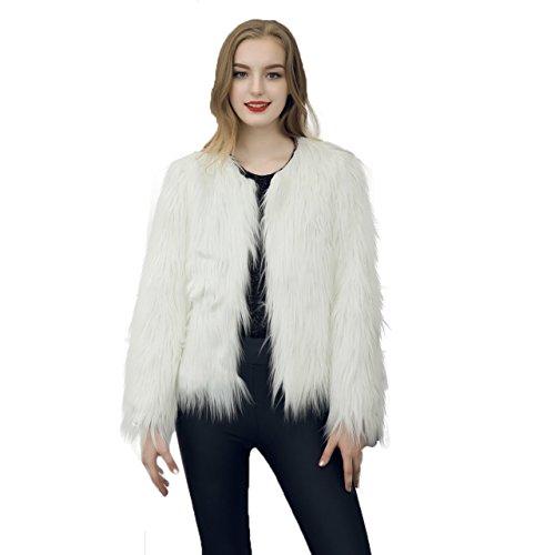 Caracilia Women Winter Warm Fluffy Faux Fur Coat Jacket White Tag L 37/Short