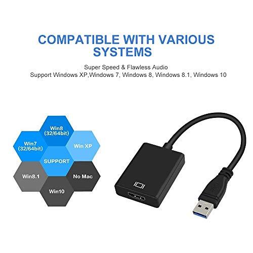 USB zu HDMI Adapter, USB 3.0 zu HDMI, HD 1080P Video Grafik Kabel Adapter Konverter für HDTV TV Audio Video Adapter für Windows 7/8/10 PC (Not Support Mac) (schwarz)