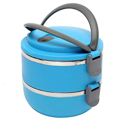 Caja De Almuerzo, 1800 Ml Redondo 2 Nivel De Acero Inoxidable De Acero Inoxidable A Prueba De Fugas Caja De Almuerzo Azul