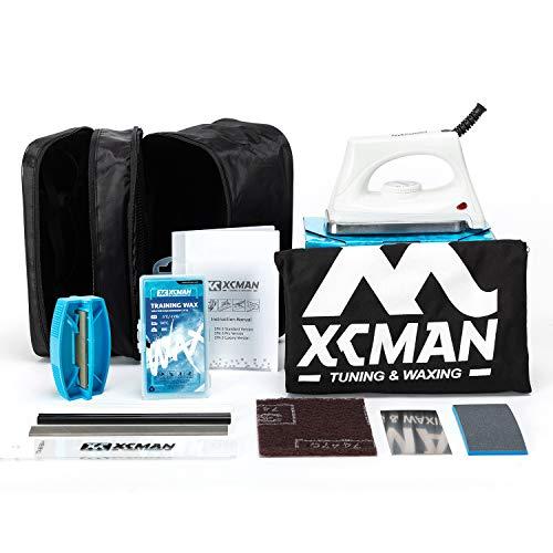 XCMAN - Kit completo de afinación y encerado para esquís, snowboard con hierro encerado, cera de esquí, afinador de bordes, PTEX para afinar, reparar y encerar