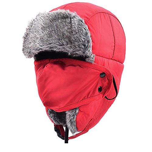 Winter Bomber Hüte Männer Frauen Pelz Verdickt Ohrenklappen Winter Hut Earflap Caps Russische Sturmhaube Bomber Hüte Für Frauen Pelz Neue Kappe,Rot