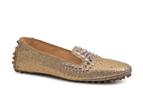 Car Shoe B3968 Mocassino Donna Scarpa Platino Glitter Borchie Loafer Shoe Woman [36.5]