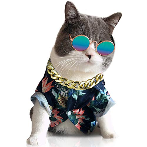 Legendog 3PCS Cool Cat Dog Costume Fashion Metal Pet Dog Collar CatSunglasses with Pineapple Print Dog Shirt for Cats and Small Dogs Adjustable Gold Dog Puppy Chain Collar Set Best Pet Photo Props