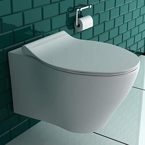Alpenberger Spülrandloses Hänge-Dusch-WC mit integrierter Taharet-Bidet Funktion inkl. Bidetschlauch + WC-Sitz mit Absenkautomatik | Intimdusche gesunde, hygienische und natürliche Reinigung