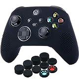 YoRHa Silicona Funda Piel Carcasas Cubierta para Xbox Series X/S Mando x 1 (Negro) con Agarres para el Pulgar x 10