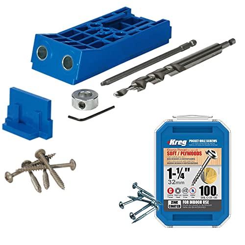 Kreg Jig HD Heavy Duty System for Woodworking - KJHD Bundle with Kreg SML-C125 100-pack Pocket-Hole Screws and a Lumintrail Keychain Light