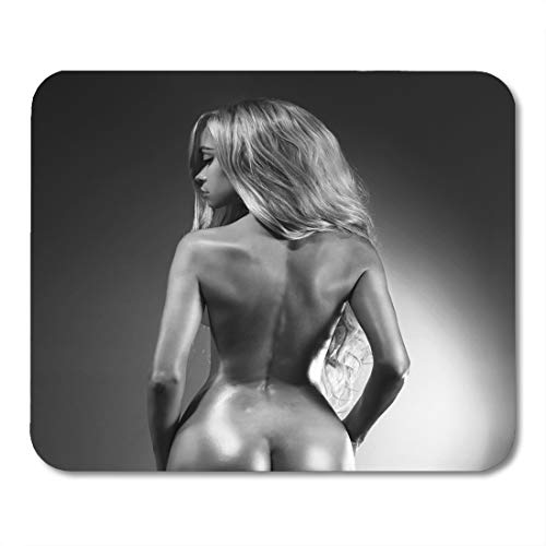 Boszina Mouse Pads Erotic Black Girl Nude Sexy Woman Naked Body of Lady Wet Blonde White Dance Glamour Mouse Pad for notebooks,Desktop Computers mats 9.5' x 7.9' Office Supplies