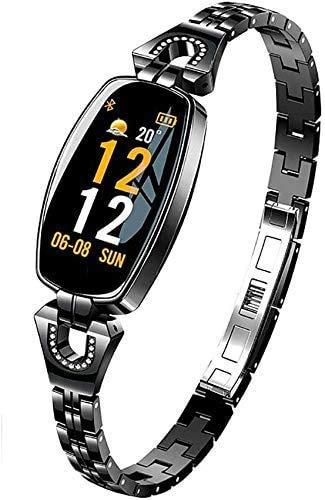 Inteligente reloj for realizar un seguimiento del ritmo cardíaco, la función de podómetro y Mujer fisiológica for las mujeres, aptitud, IP67 a prueba de agua compatible con Android y el IOS, Negro JIA
