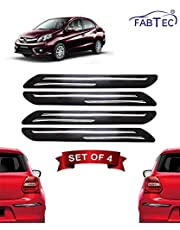 Fabtec Bumper Protector Guard for Honda Amaze 2018 (Set of 4) Black (Design-Double Chrome Strip)