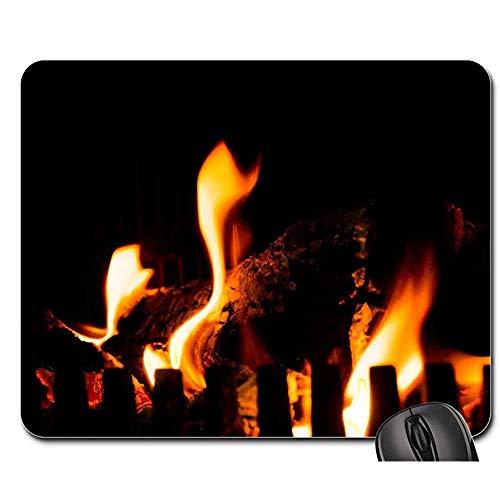 Anti Rutsch Gaming Mausepad,Pad Maus Unterlage,Gummiunterseite Mausmatte,Lagerfeuer Kamin Feuer Flammen Wärme Heiß Warm Büro Computer Pad,Glatte Mousemat,30X25Cm