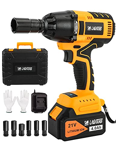 Cordless Impact Wrench,420 Ft-lb High Torque 3200 RPM,with a 21V 4.0Ah Li-Ion Battery, Fast...