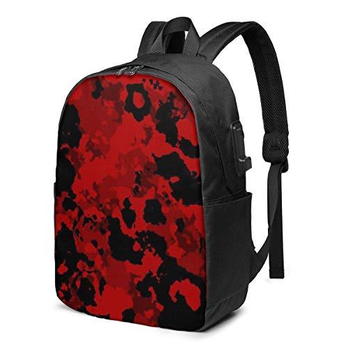 BGDFN Mochila unisex para adolescentes de 17 pulgadas USB de camuflaje rojo multipropósito Daypacks casual para mujer para viajes