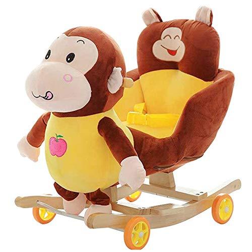 LALAWO Chaise de Loisirs pour Enfants Singe Reine De Troie pour 1-4 Ans Enfants Éducation Précoce À Bascule Cheval Bébé À Bascule Chaise Bébé Jouets