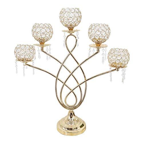 Fenteer Candelabros de Cristal de 5 Brazos, Candelabros, Centros de Decorativos, Soporte para Velas con Luz de Té para Decoración de Fiestas