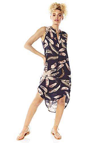 Romeinse Originelen Vrouwen Veer Print Dipped Hem Shirt Jurk - Dames Dagelijks Casual Dagkleding Zomer Vakantie Strand Lichtgewicht Asymmetrische Knop Voorkraag Shirt Jurk