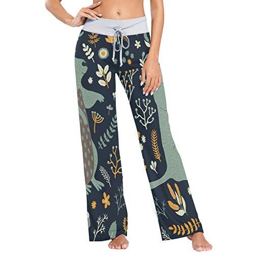 Ground Hog and Floral Print Pantalones de Pijama para Mujer Ropa de Dormir Loose Palazzo Casual Pantalones de Yoga con cordón-XS