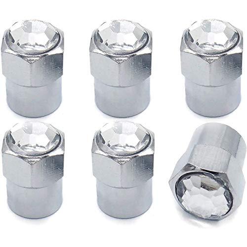 Beada Tapa cromada para válvula de neumáticos, con cristales brillantes, para coche y moto, transparente