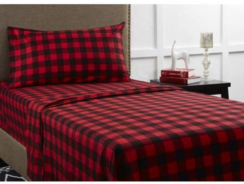 Mainstays Flannel Bedding Sheet Set, King, Red Plaid