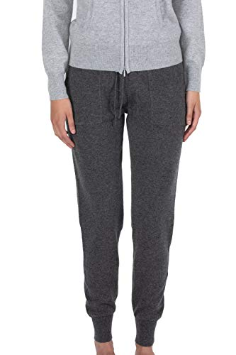 JENNIE LIU Women's 100% Pure Cashmere Knitted Jogger Pants(L, Charcoal)