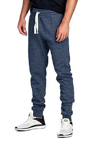 ProGo Men's Joggers Sweatpants Basic Fleece Marled Jogger Pant Elastic Waist (Medium, Marled Navy)