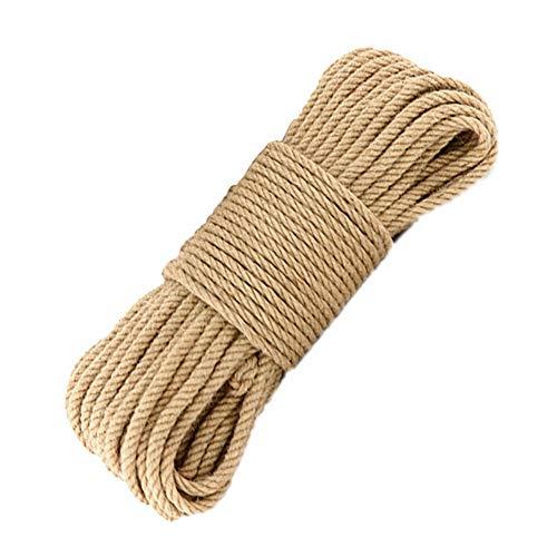 Mila-Amaz Natural Cuerda de Cáñamo 6mm de Grosor Soga Fuerte de Yute para el Hogar, Jardín, Artesanía Artesanal, Decoración, 25 m