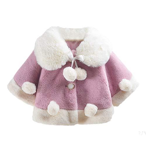 FeiliandaJJ Neugeborenes Mädchen Plüsch Ball Umhang Jacken Mantel Baby Säugling Winter Süß Fleece Verdicken Knopf Oben Kragen Warme...